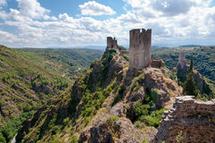 La Tour Regine Surdespine and Quertinheux towers and valley at L Stock Photo