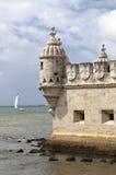 La tourelle de la tour Lisbonne, Portugal de Belem Image stock