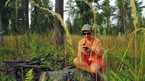 La touriste de jeune femme dans la forêt s'assied sur un arbre tombé et communique dans le téléphone dans le messager clips vidéos