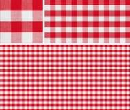 La tovaglia rossa senza cuciture di picnic ha controllato i campioni di risultato e del modello Fotografia Stock Libera da Diritti