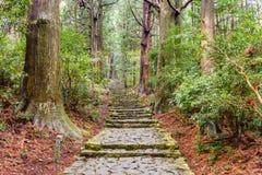 La traînée de Kumano Kodo, une traînée sacrée dans Nachi, Japon images libres de droits