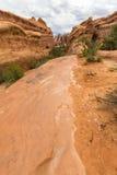 La traînée sur des roches dans les voûtes parc national, Etats-Unis photo libre de droits