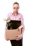 La trabajadora despedida con un rectángulo Fotos de archivo