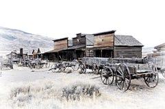 Cody, Wyoming, vecchi vagoni di legno in una città fantasma, Stati Uniti Fotografie Stock