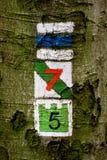 La traccia di escursione firma i simboli Fotografia Stock