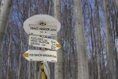 Contrassegno turistico della traccia in Slovacchia Immagine Stock