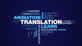 La traducción aprende que negocio del libro de la animación comunica la nube animada de la palabra de la definición de datos del  fotos de archivo libres de regalías