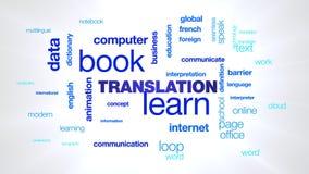 La traduzione impara che affare del libro di animazione comunica la nuvola animata di parola della definizione di dati di concett video d archivio