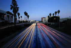 LA traffic. Los Angeles Highway at dusk Royalty Free Stock Photos