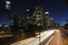 LA traffic at night. Los Angeles skyline and traffic on highway 110 at night Stock Photography