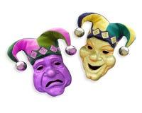 La tragedia de la comedia enmascara carnaval   Foto de archivo libre de regalías