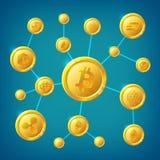 La transazione anonima di Internet di decentramento di Blockchain, di cryptocurrency e del bitcoin vector il concetto Fotografie Stock