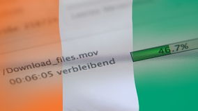La transferencia archiva en un ordenador, bandera de Costa de Marfil ilustración del vector