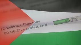 La transferencia archiva en un ordenador, bandera de Palestina stock de ilustración