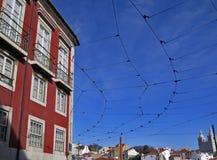 La tranvía telegrafía i Lisboa Fotografía de archivo