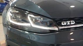 La trappe chaude du golf GTD de VW a mené le détail léger principal photo stock