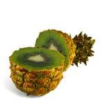 La trasformazione dell'ananas in kiwi. Fotografia Stock Libera da Diritti
