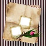 La trasparenza di Foto con vecchio documento ed è aumentato Fotografia Stock