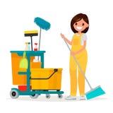 La travailleuse du service de nettoyage tient un balai Illust de vecteur Image stock