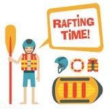 La trave felice con il rafting del ` di citazione e del fumetto cronometra il ` Immagine Stock