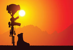 La traversa caduta di battaglia del soldato. Immagini Stock Libere da Diritti