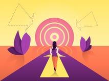 La trayectoria a alcanzar de la meta La motivaci?n del camino va a una meta similar al sol ilustración del vector