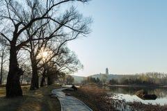 La trayectoria de la orilla del lago temprano por la mañana Imagenes de archivo