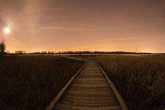 La trayectoria de madera extiende al cielo nocturno estrellado Foto de archivo