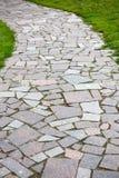 La trayectoria de piedra del paseo del bloque con el fondo de la hierba verde Imágenes de archivo libres de regalías