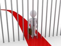 La trayectoria del hombre de negocios es bloqueada por las barras de metal Imágenes de archivo libres de regalías
