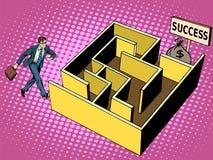 La trayectoria del laberinto al concepto del negocio del éxito Imagen de archivo