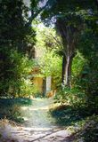 La trayectoria entre los árboles a la casa vieja en el fondo Fotografía de archivo
