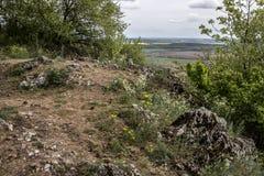 La trayectoria a través del canto de la colina en las pequeñas montañas cárpatas foto de archivo libre de regalías