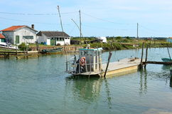 La Tremblade, ostra que cultiva o porto, Charente marítimo, França fotografia de stock