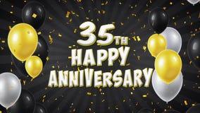 la trentes-cinquième salutation et souhaits heureux de noir d'anniversaire avec des ballons, confettis ont fait une boucle le mou illustration stock