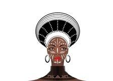 La tribù africana copre zulù femminile, ritratto della donna sudafricana sveglia Abbigliamento tipico per le donne sposate, ragaz illustrazione vettoriale
