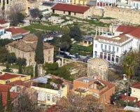 La tribuna romana e le vecchie case sotto l'acropoli Immagini Stock Libere da Diritti