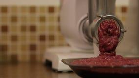 La trituradora de alimentos de la carne almacen de metraje de vídeo