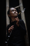 La trompeta tradicional indonesia del sundanese imagenes de archivo