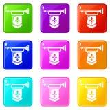 La trompette antique avec des icônes de drapeau a placé la collection de 9 couleurs illustration stock