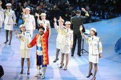 La troupe d'art d'armée et gala-theFamous et classicconcert folkloriques de la main du Xinjiang Images stock