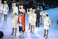La troupe d'art d'armée et gala-theFamous et classicconcert folkloriques de la main du Xinjiang Images libres de droits