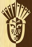 La tuile en bois de marqueterie d'art avec l'inverse a découpé le masque protecteur, le motif africain tribal, la lumière et le b Photos libres de droits