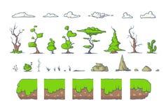 La tuile réglée pour le jeu de Platformer, au sol sans couture de vecteur bloque la conception de jeux Photos libres de droits