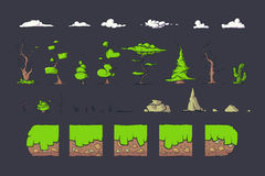 La tuile réglée pour le jeu de Platformer, au sol sans couture de vecteur bloque la conception de jeux Photographie stock