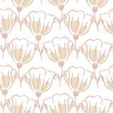 La tulipe fleurit le modèle sans couture Les lignes tirées par la main offrent la texture de rose et blanche illustration libre de droits