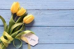 La tulipe jaune fleurit sur un fond en bois bleu avec l'espace de copie Photos stock