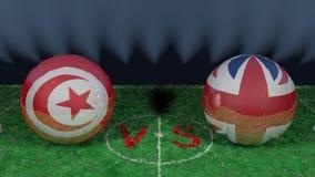 La Tunisie contre l'Angleterre Coupe du monde 2018 de la FIFA Image 3D originale Photos stock