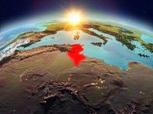 La Tunisie de l'espace dans le lever de soleil Photographie stock