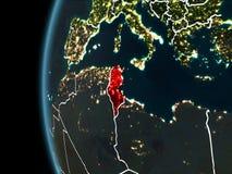 La Tunisie de l'espace la nuit Photos libres de droits